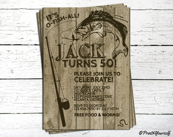 Personalized Brown OFishAll Birthday Invitation rusticwooden