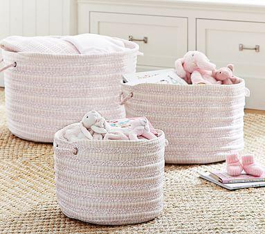 Pink Round Woven Storage Nursery Storage Baby Nursery