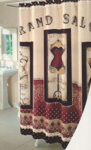 Grand Salon Fabric Bathroom Shower Curtain Paris Lingeries Fashion Theme  NEW NIP | EBay