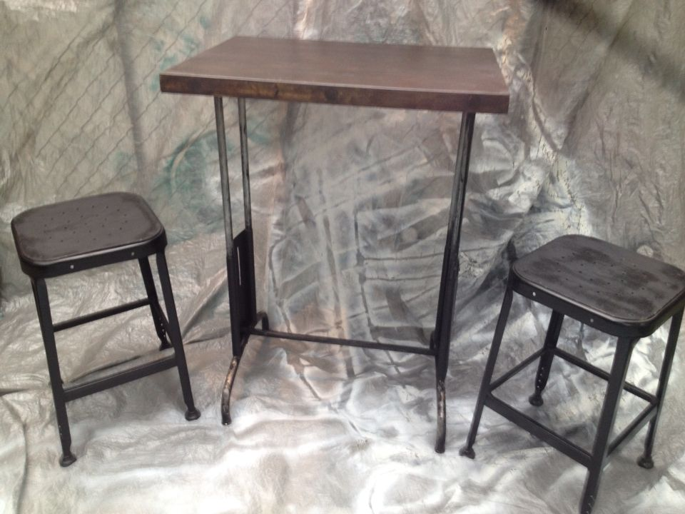 Refinished Vintage Machine Table with Lyon Stools