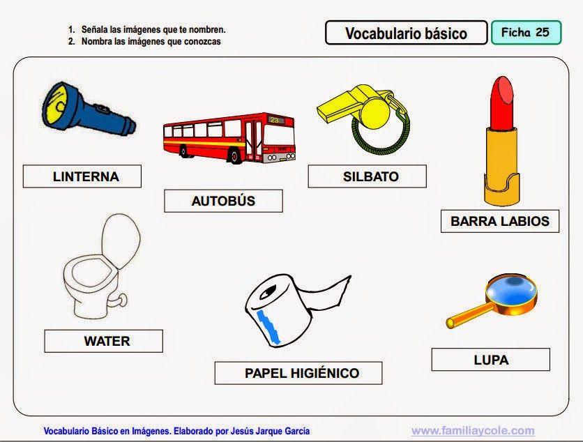 Vocabulario en imágenes. Maestra de Infantil y Primaria.: Vocabulario básico para niños de 3 años