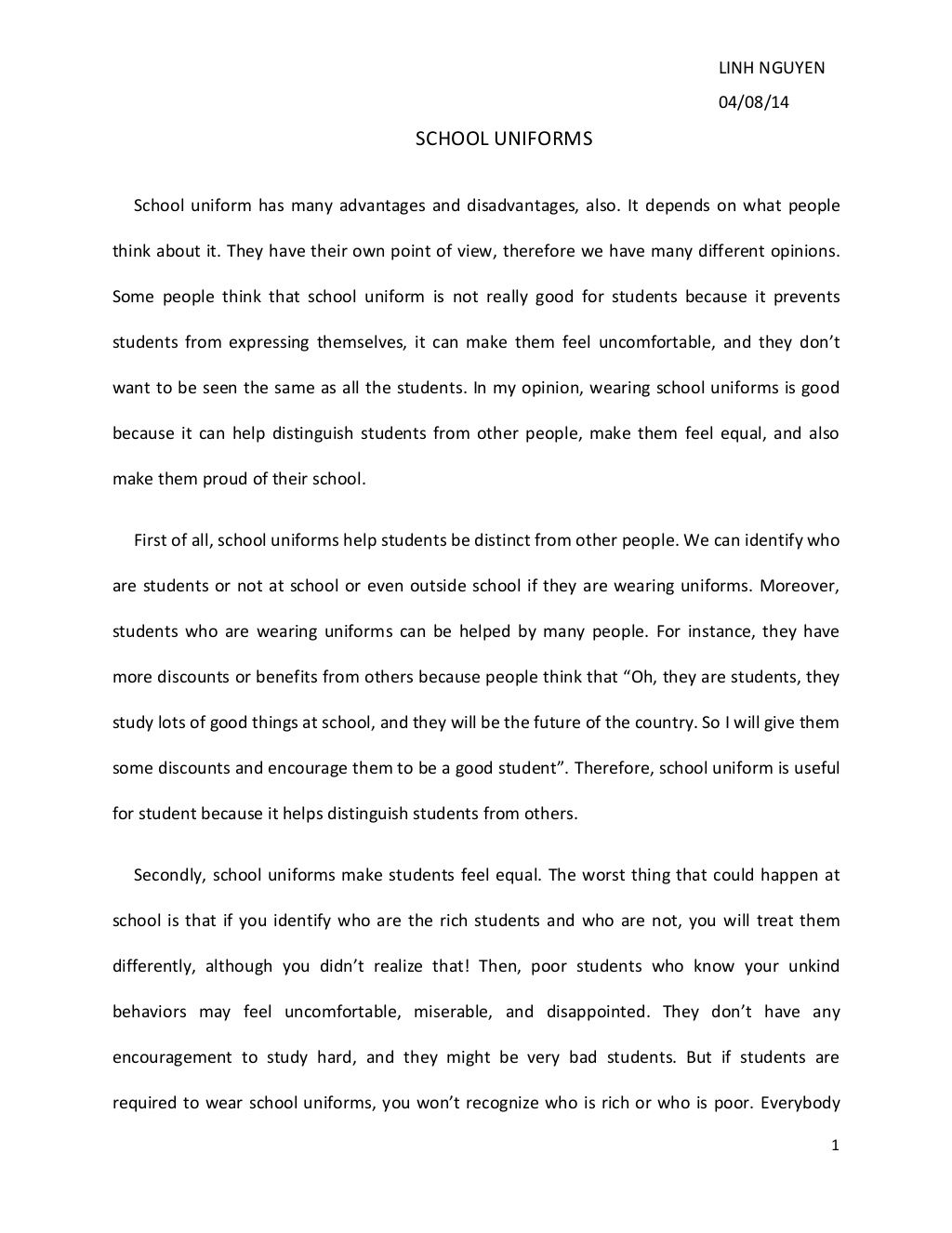 persuasive essay on school uniform