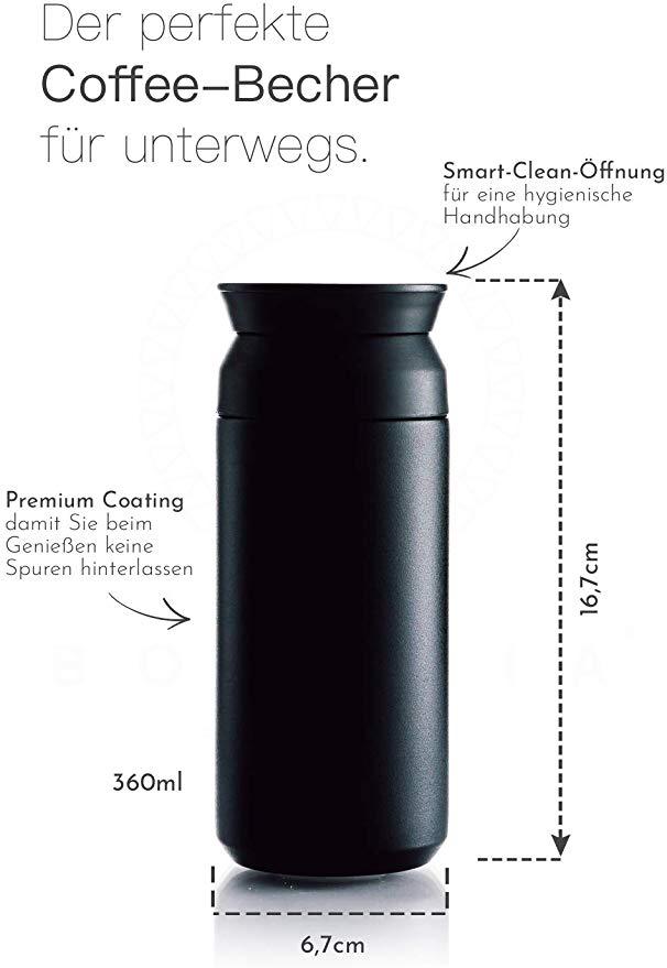Reusable Insulated Double Wall Tea Coffee Hot Drink Flask Mug NEW