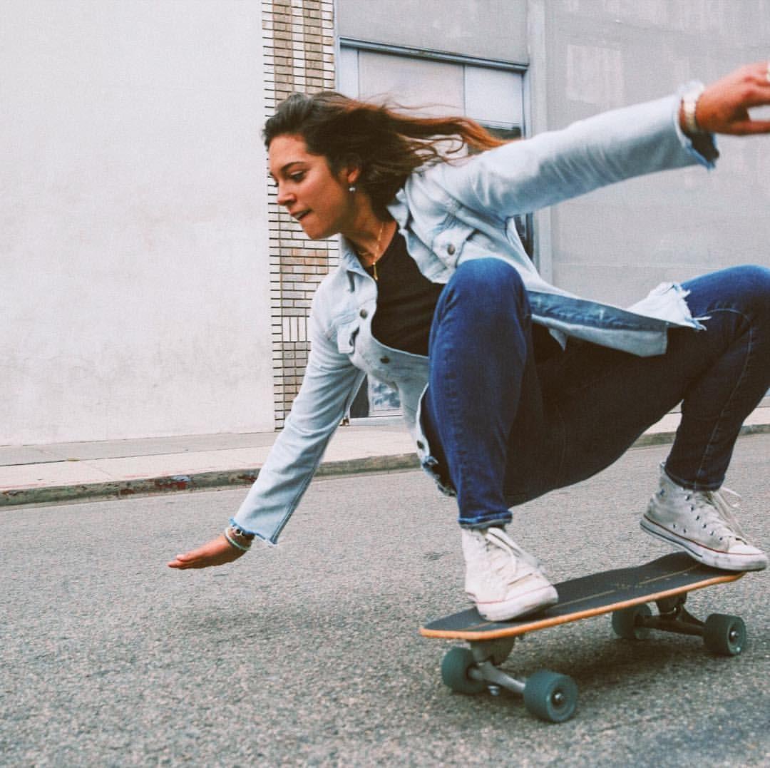 Skater Girl Carver Skate Long Board California Los Angeles Carver Denim Vans Blue Travel Adventure Grlswirl Skateboard Girl Skater Girls Carver Skateboard