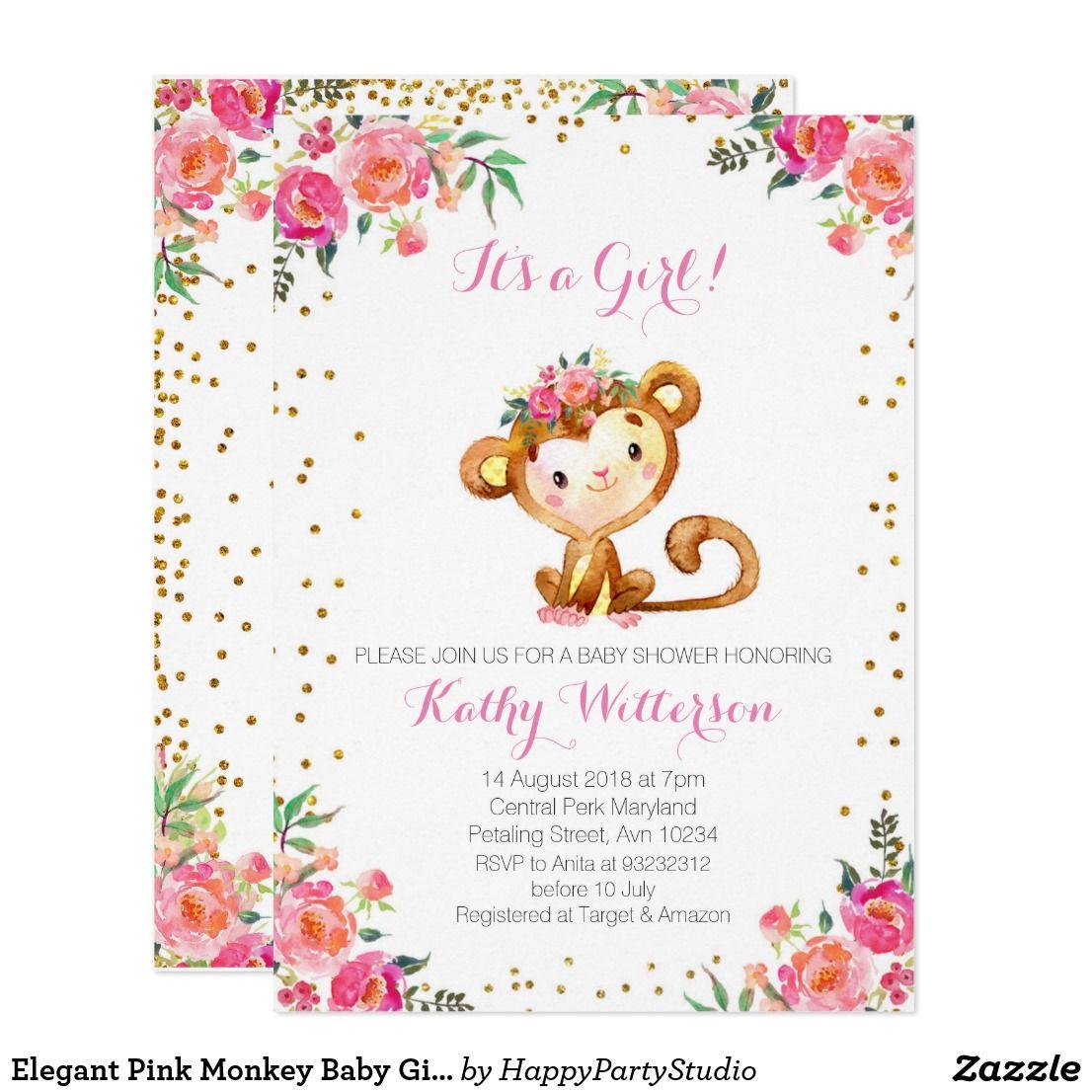 Elegant pink monkey baby girl shower invitation babies and baby elegant pink monkey baby girl shower invitation cute and sweet elegant pink monkey baby girl shower floral and gold confetti perfect for your baby shower filmwisefo