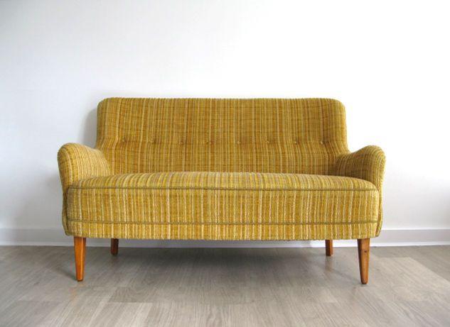 1950s Danish Small Mustard Yellow 2 Seater Sofa Settee