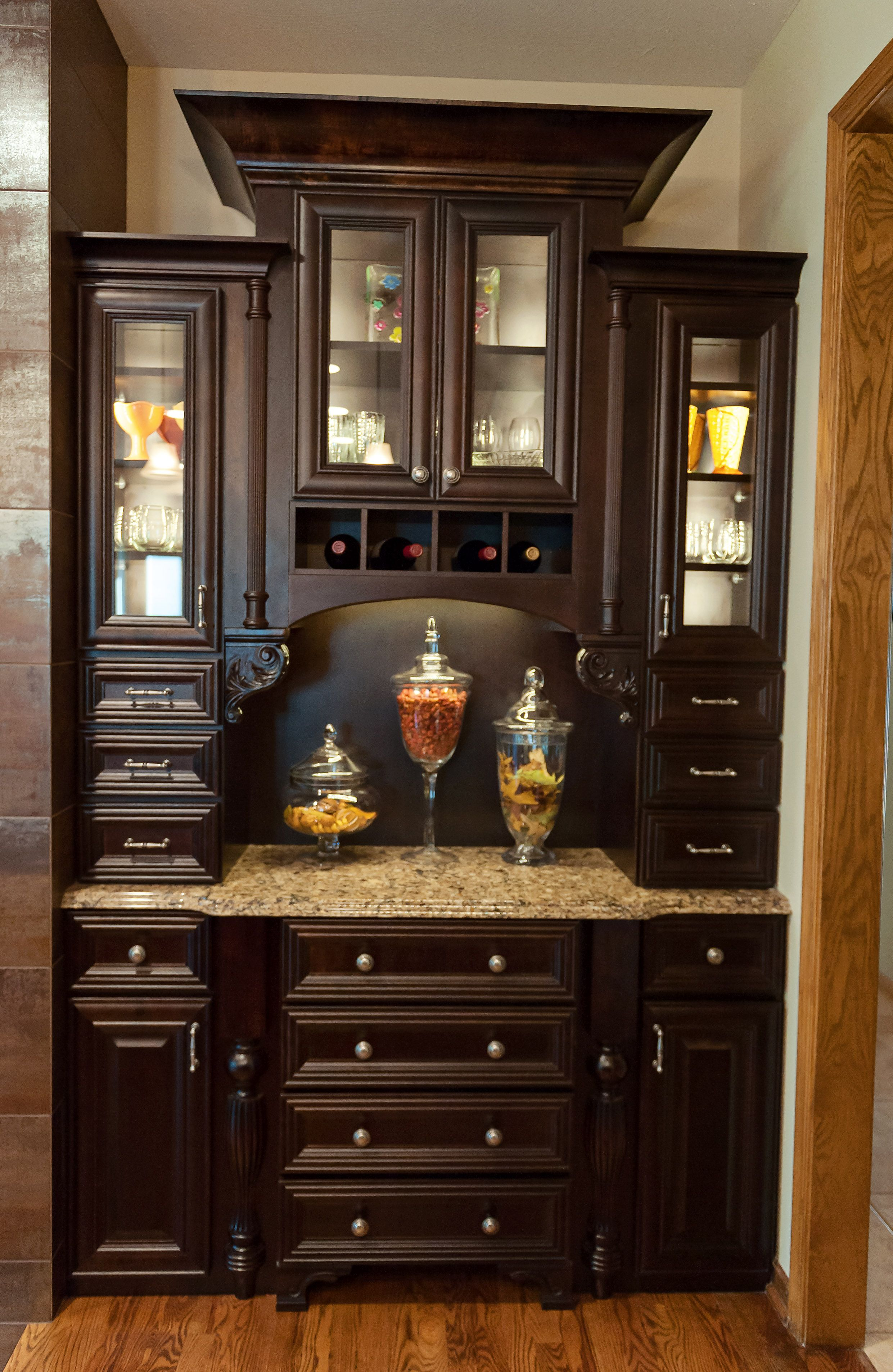hutch with maple cabinets java stain by reese construction inc
