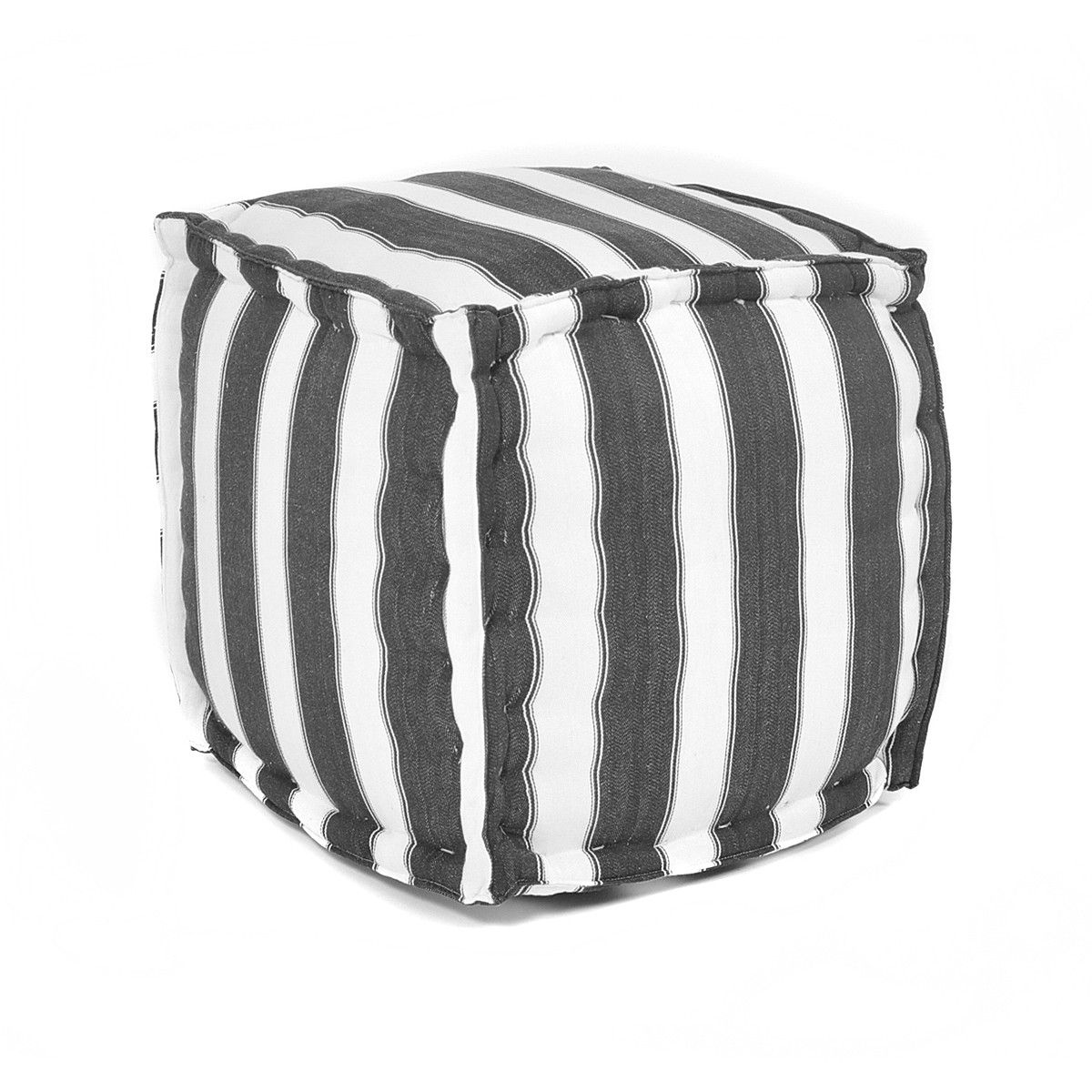 Cotton Square Pouf Black