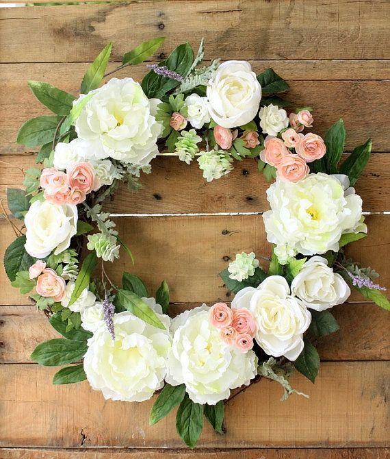 Spring Wreath ~ Summer Wreath ~ Peony Wreath ~ Front Door ...