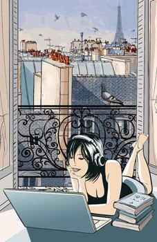 Jeune femme se divertir avec l'ordinateur en face d'une fen�tre ouverte sur les toits de Paris - illustration vectorielle photo