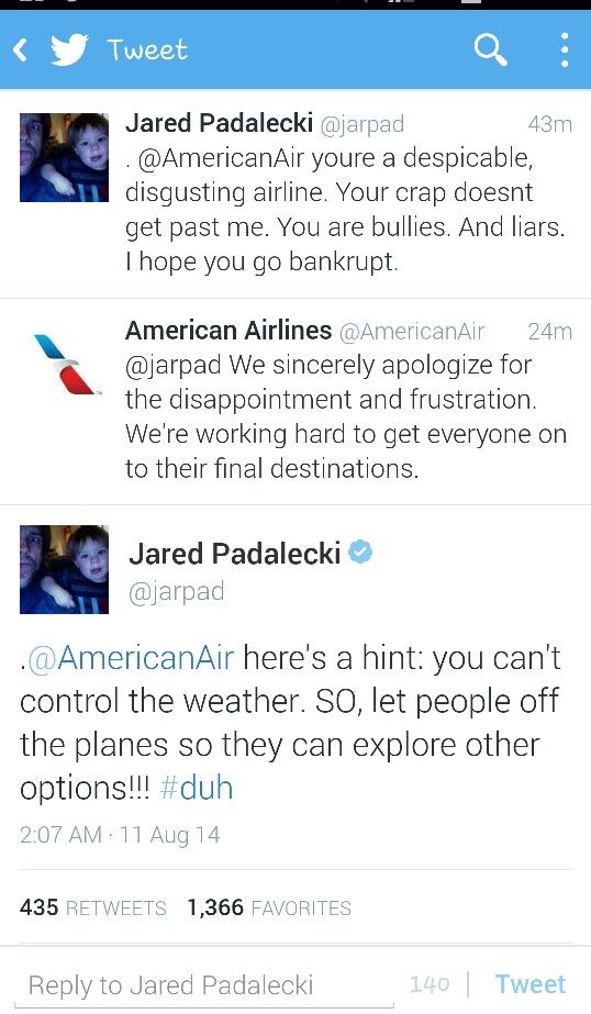 Jared Padalecki and his continous dispute tweets with companies and hotels. I love how honest and expressive he is like anyone of us and unlike other celebrities.