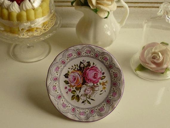 Vintage Rose Roses   Dollhouse Plate by Twelvetimesmoreteeny, €3.10