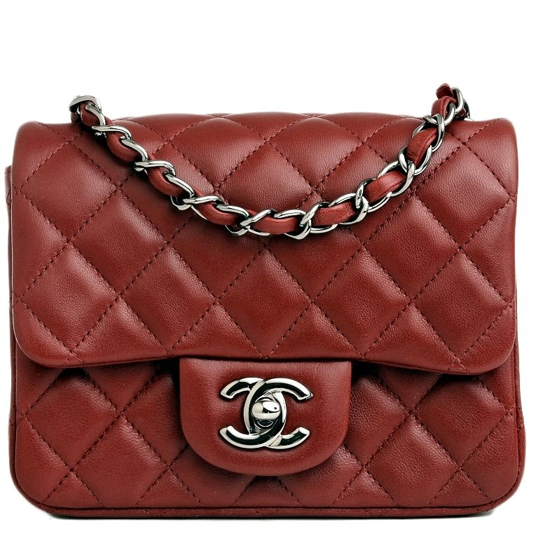 d9b09ec2e607 Chanel Mini Classic Flap Quilted Lambskin Bag in Dark Red #chanel ...