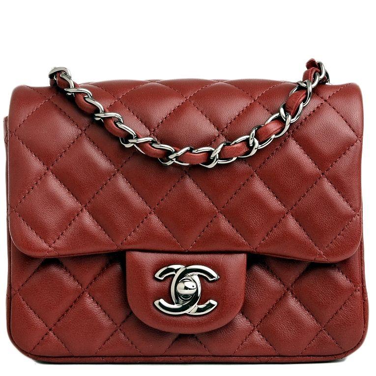 Chanel Mini Classic Flap Quilted Lambskin Bag in Dark Red #chanel ... : red quilted chanel bag - Adamdwight.com