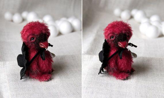 Collectible artist handmade miniature Cardinal bird by LunaticShop