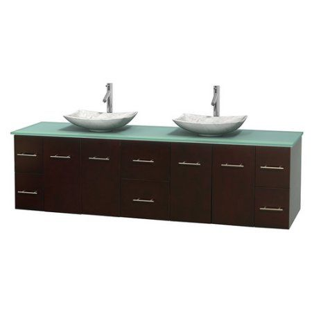 Inspiration Web Design Wyndham Collection Centra inch Double Bathroom Vanity in Espresso Green Glass Countertop Arista