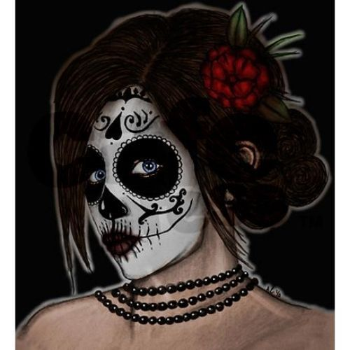Tattoo Day Of The Dead Shower Curtain Rockabilly Pinup Dia De Los Muertos Zombie