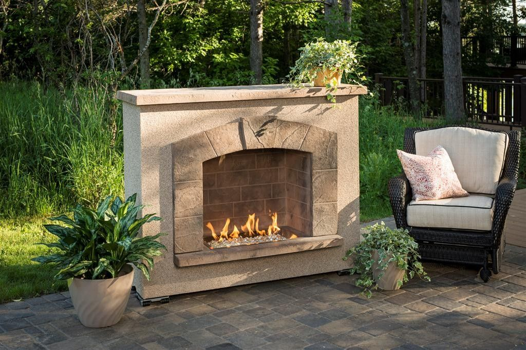 Stone Arch Outdoor Gas Fireplace