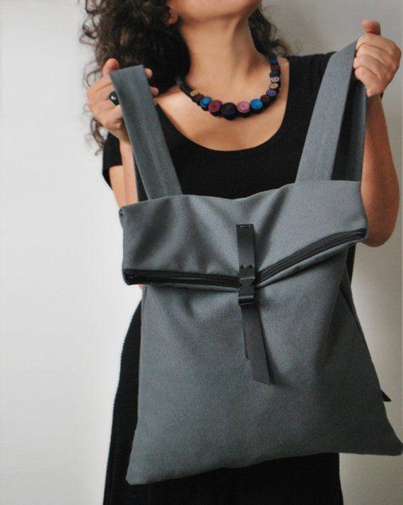 Vegan oder Leder Verschluss Chic Rucksack Messenger Tasche Monochrom wasserdichtE Leinwand modische Umhängetasche handgemachte Frauen Tasche Geschenk für Sie – Bolsa de moda