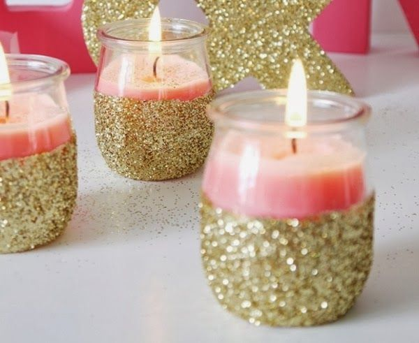 How to's : DIY Gold Glitter Candle Holders- this would be cheap to do :) I just love the glitter on it. It just gives it a pop :)