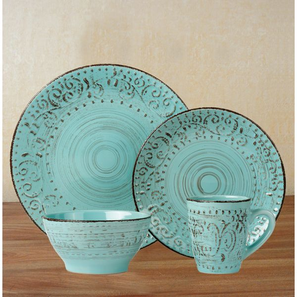 Lorren Home Trends Blue/Green Stoneware 16-piece Round Dinnerware Set & Lorren Home Trends Blue/Green Stoneware 16-piece Round Dinnerware ...