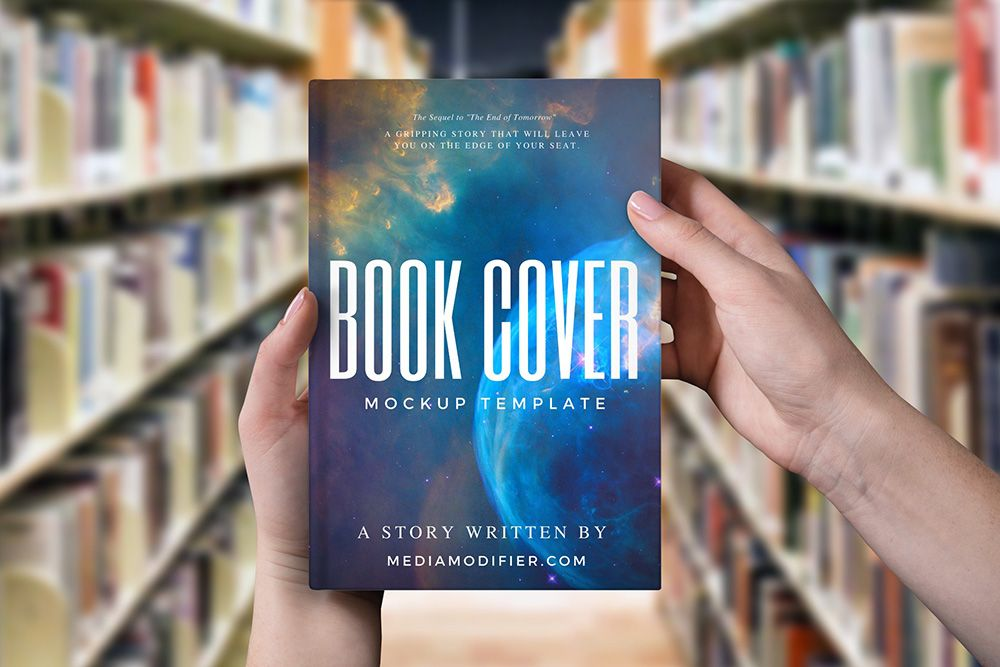 Woman Holding Book On Library Background Mockup Mediamodifier Free Online Mockup Generator Book Cover Mockup Books Book Cover