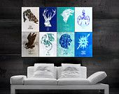 Game of Thrones symbols of houses flags  Poster art huge giant wall print 8 parts HH10786 S33