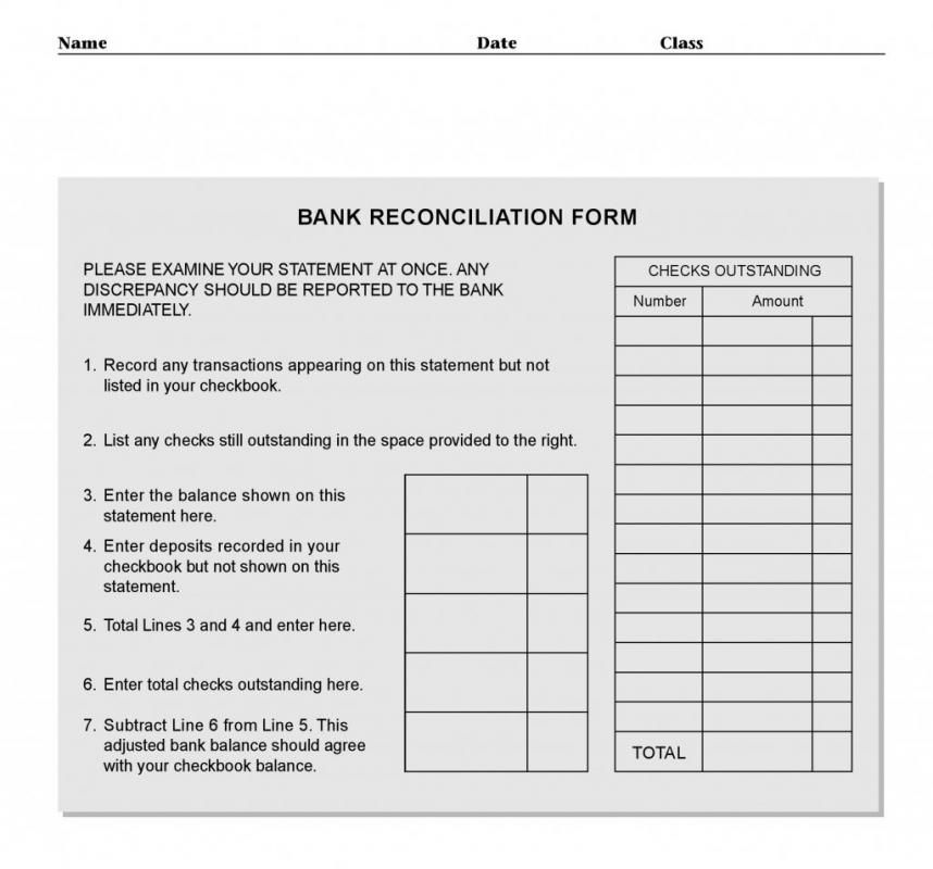 Bank Reconcilation Format Bank Reconciliation Template  Template  Pinterest  Template And Banks