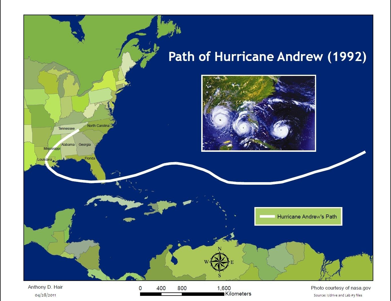 Path Of Hurricane Andrew Hurricane Andrew Hurricane Mental Map