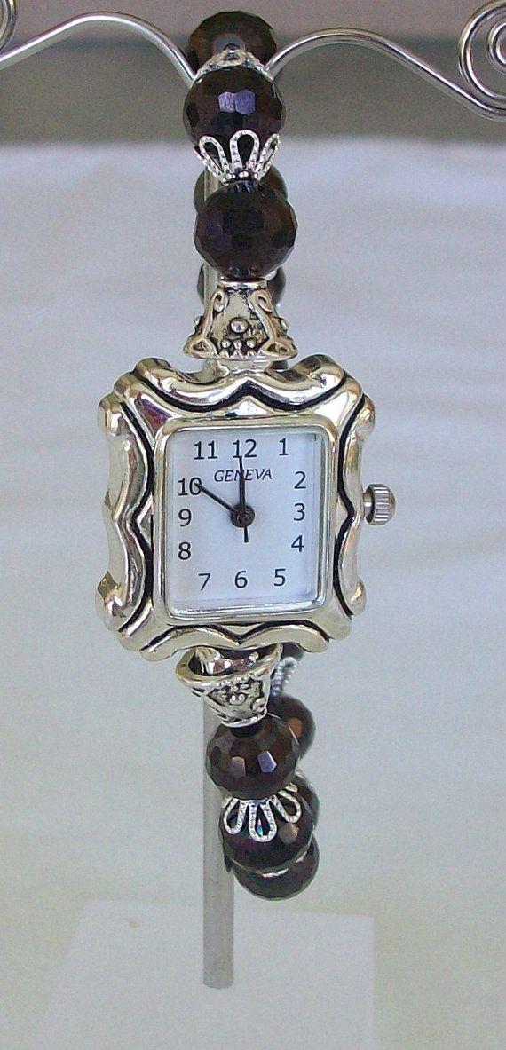 Beaded Bracelet Watch in Black by beadedblisscreations on Etsy, $29.00