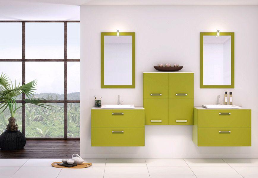 meuble salle de bain vert anis