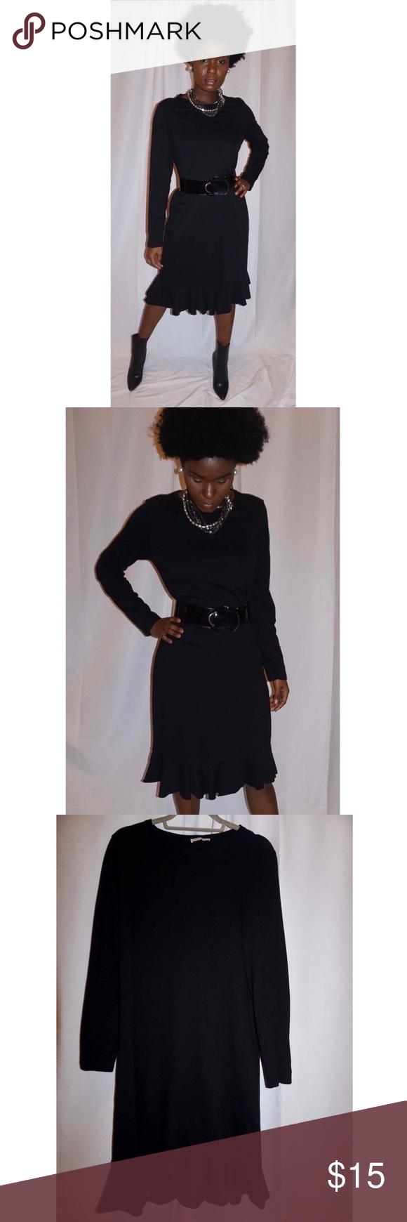 Zara Black Ruffled Dress Black Ruffled Dress Zara Black Black Ruffle [ 1740 x 580 Pixel ]