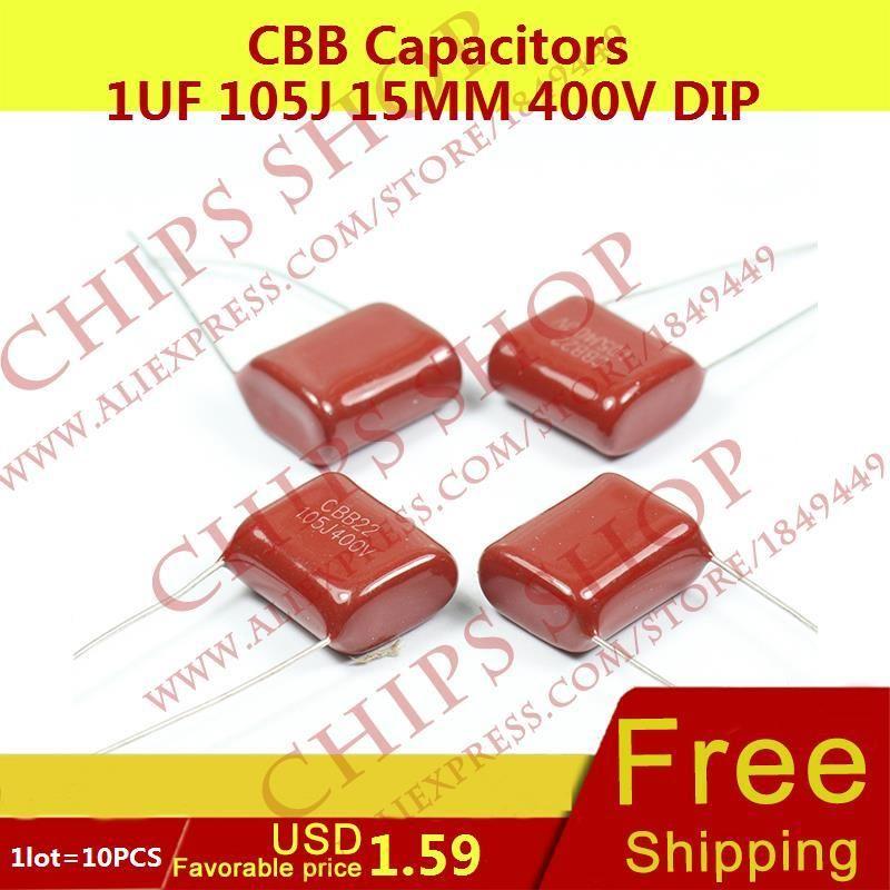 1lot 10pcs Cbb Capacitors 1uf 105j 15mm 400v Dip 1000nf 1000000pf Capacitors Chip Dip Dips