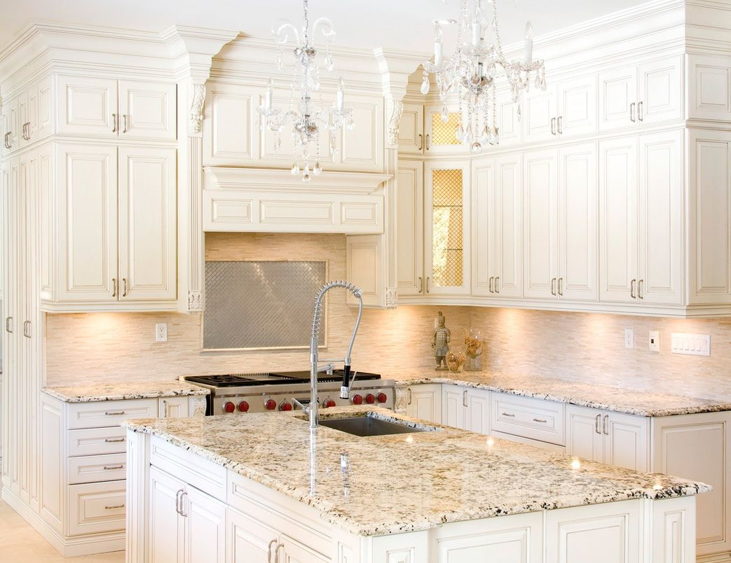 Small Modern Granite Kitchen Countertop Colors With White Cabinets Kitchen Cabinets And Granite Antique White Kitchen Beige Kitchen