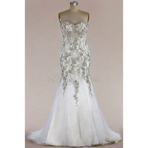 eDressit Beaded Sweetheart Mermaid Wedding Dress (F04014617) (5.330 DKK) ❤ liked on Polyvore featuring dresses and wedding dresses