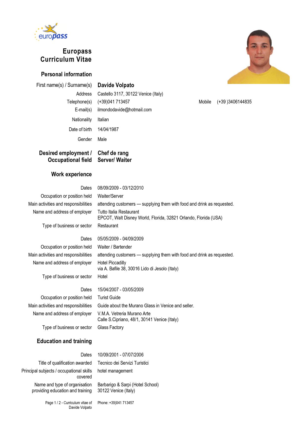 europass cv english form