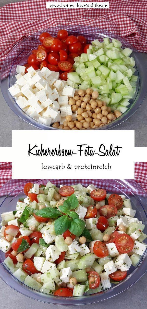 Heute gibt es einen Tomaten-Feta-Salat mit Kichererbsen. Es ist wieder ein Blitzrezept, denn du brauchst für die Zubereitung nur 5-10 Minuten! #eine #Kichererbsen #mit #Proteinbombe #TomatenFetaSalat #wahre #vegetariangrilling