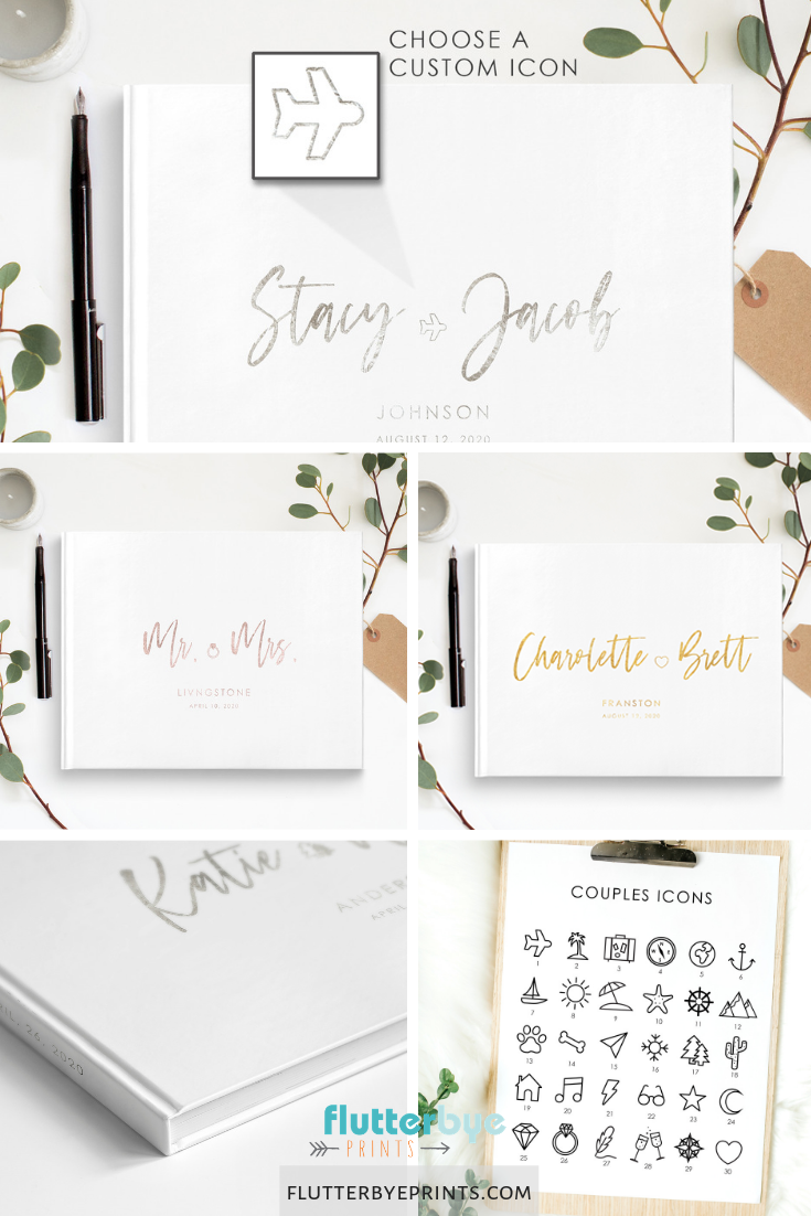 Couples Icon Traditional Guest Book Traditional Wedding Guest Book Wedding Guest Book Personalized Wedding Guest Book