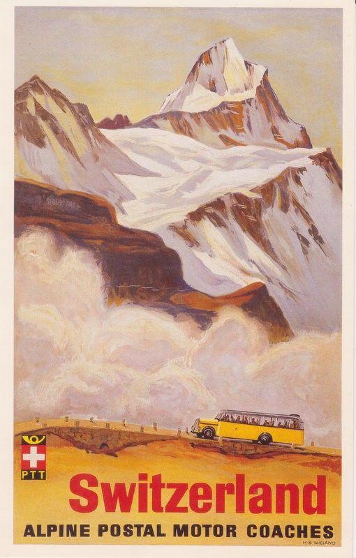 Hans Beat Wieland, Plakat fur PTT-Reisedienst, 1935. Plakatsammlung Museum fur Gestaltung Zurich.