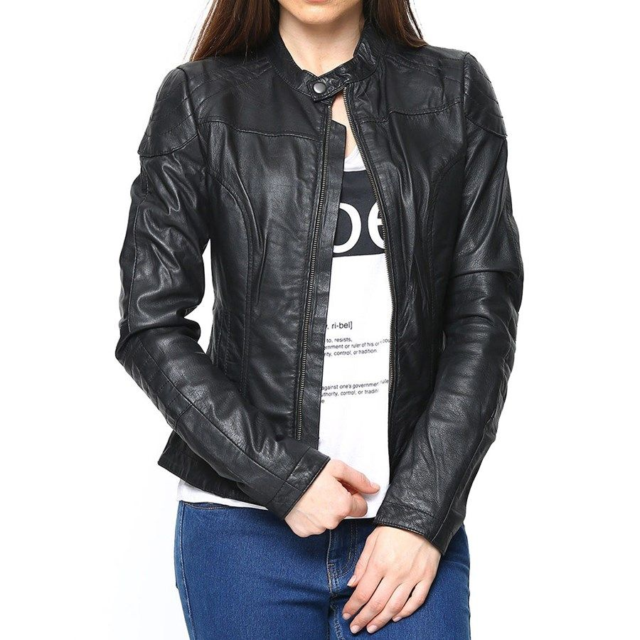 Buy Latest Bareskin Black Leather Jacket For Women Online In India