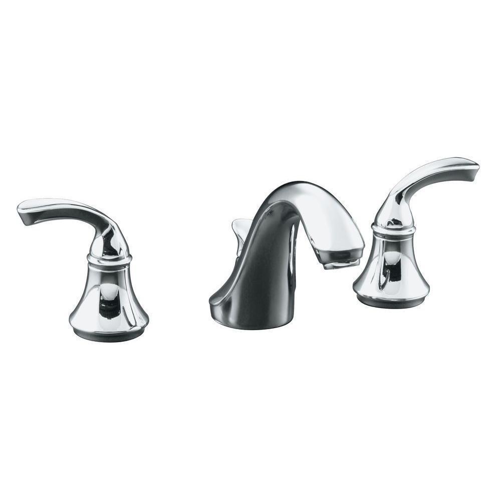 Kohler Forte 8 Inch Widespread 2 Handle Low Arc Bathroom Faucet In