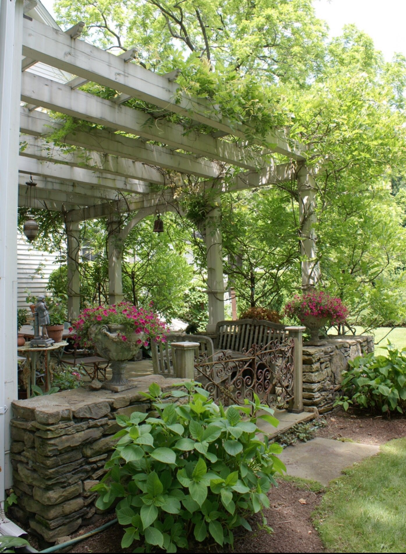 stone patio with pergola.perfect! | patios & outdoor living, Gartengerate ideen