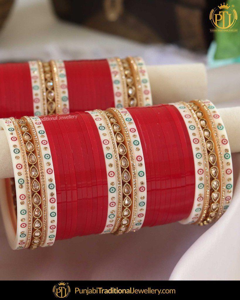 Dotted champagne stone red bridal chura punjabi
