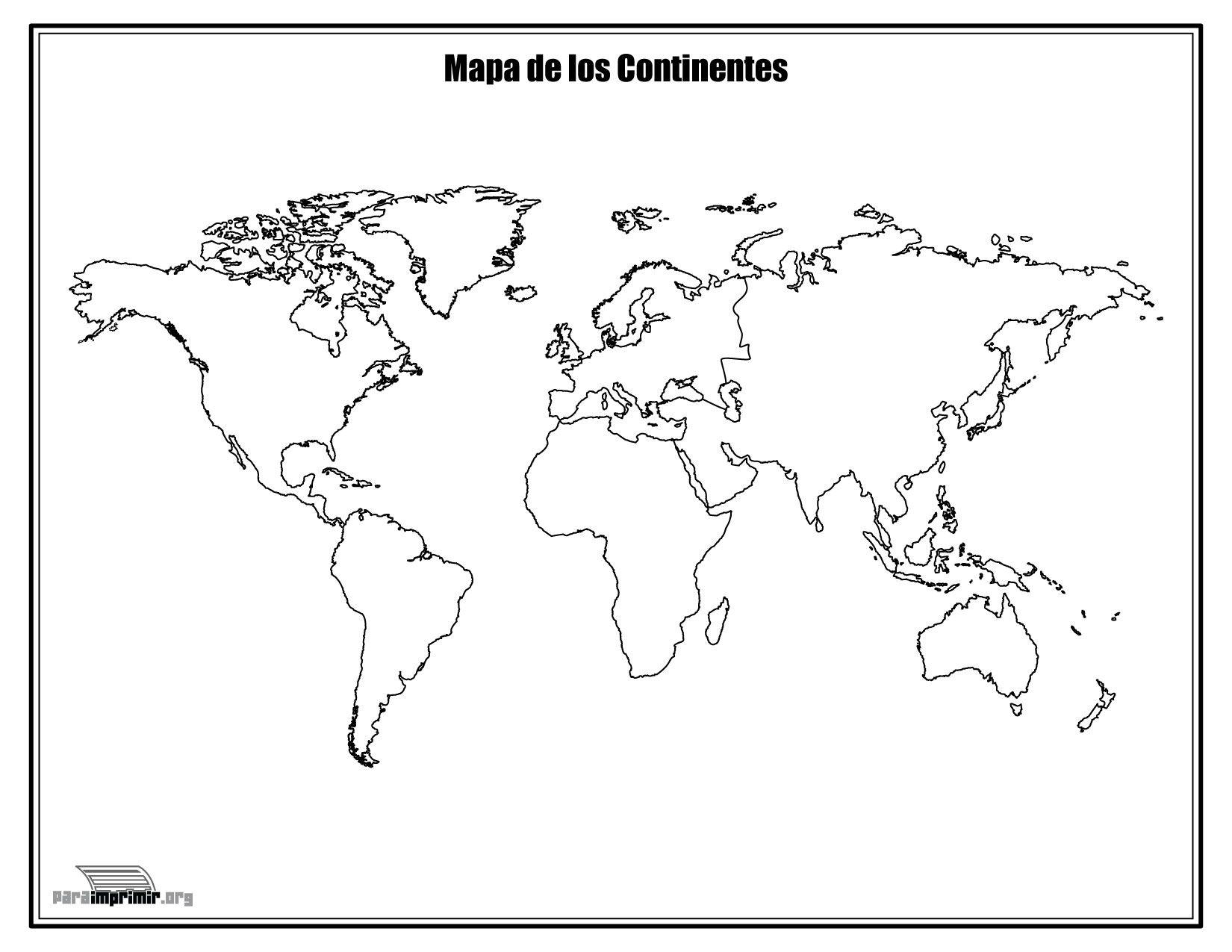 Mapa de los continentes sin nombres para colorear y para imprimir ...