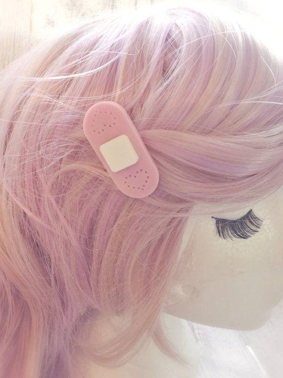 Kawaii Pastel Band Aid Hair Clips Menhera Fashion Medical Kawaii Fairy Kei Cute Nurse Pink Bandage Hair Barrette Pastel Cute Girl Pastel Goth Fashion Hair Clips Kawaii Hairstyles