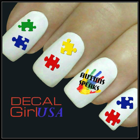 Nail Art Decals 50 Autism On Etsy 3 85