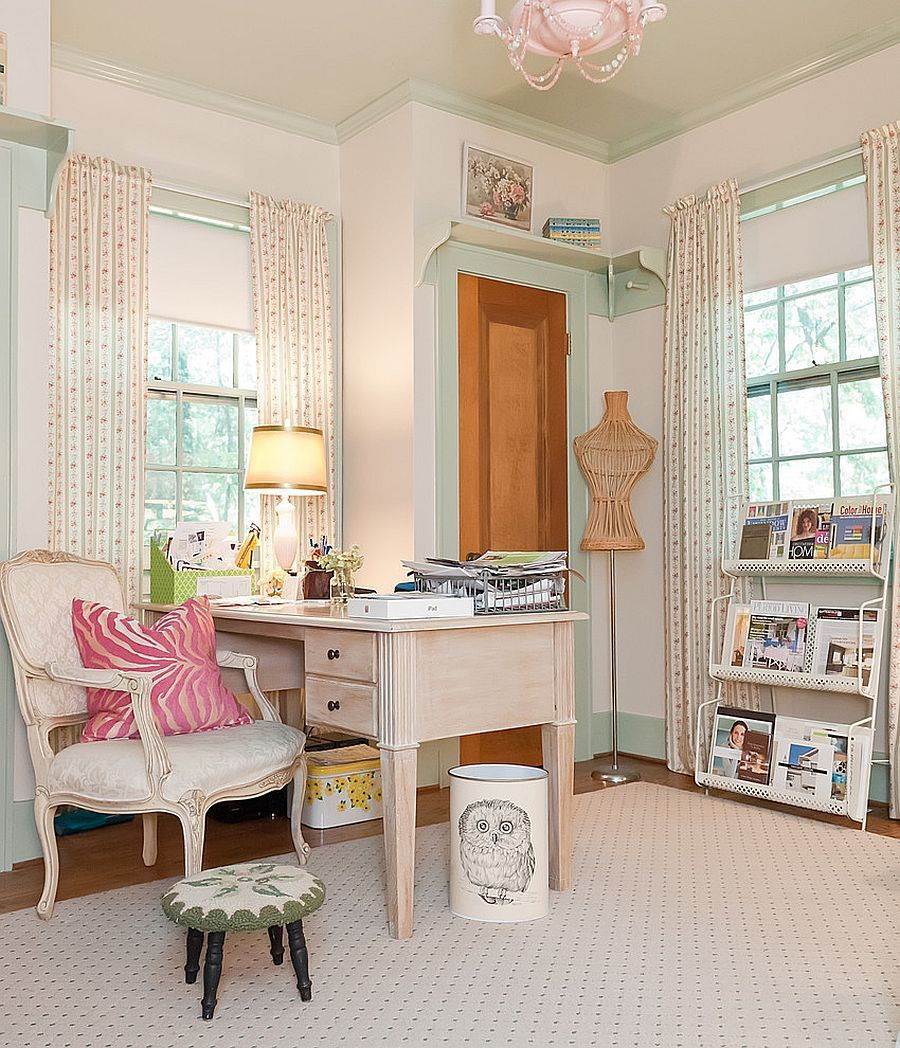 Elegant Home Office Combines Traditional And Shabby Chic Styles From Kristie Barnett Melanie
