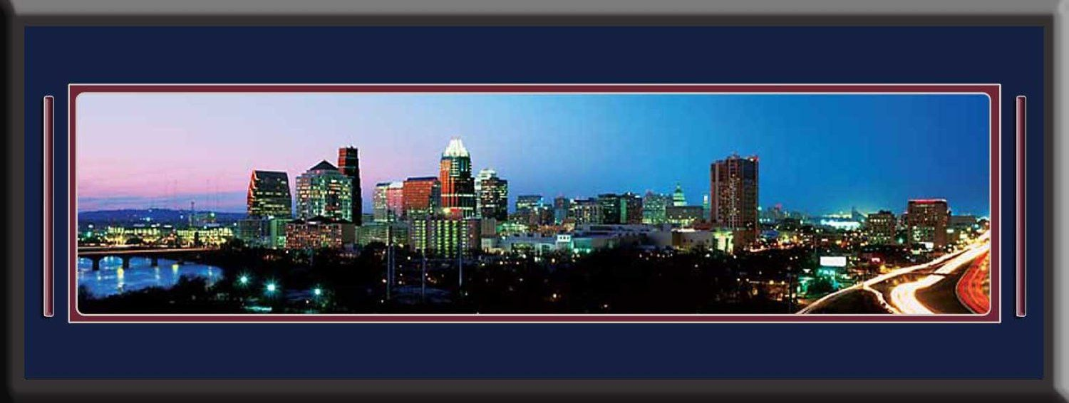 Austin Texas US Skyline Panoramic Comes With 1 1/2 Inch Black Leather Frame-Double Matting - Large Framed Picture - Awesome and Beautiful! This Is a Must for Any Home or Office Décor!