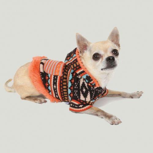 pompom dog hoodie w/ pocket orange