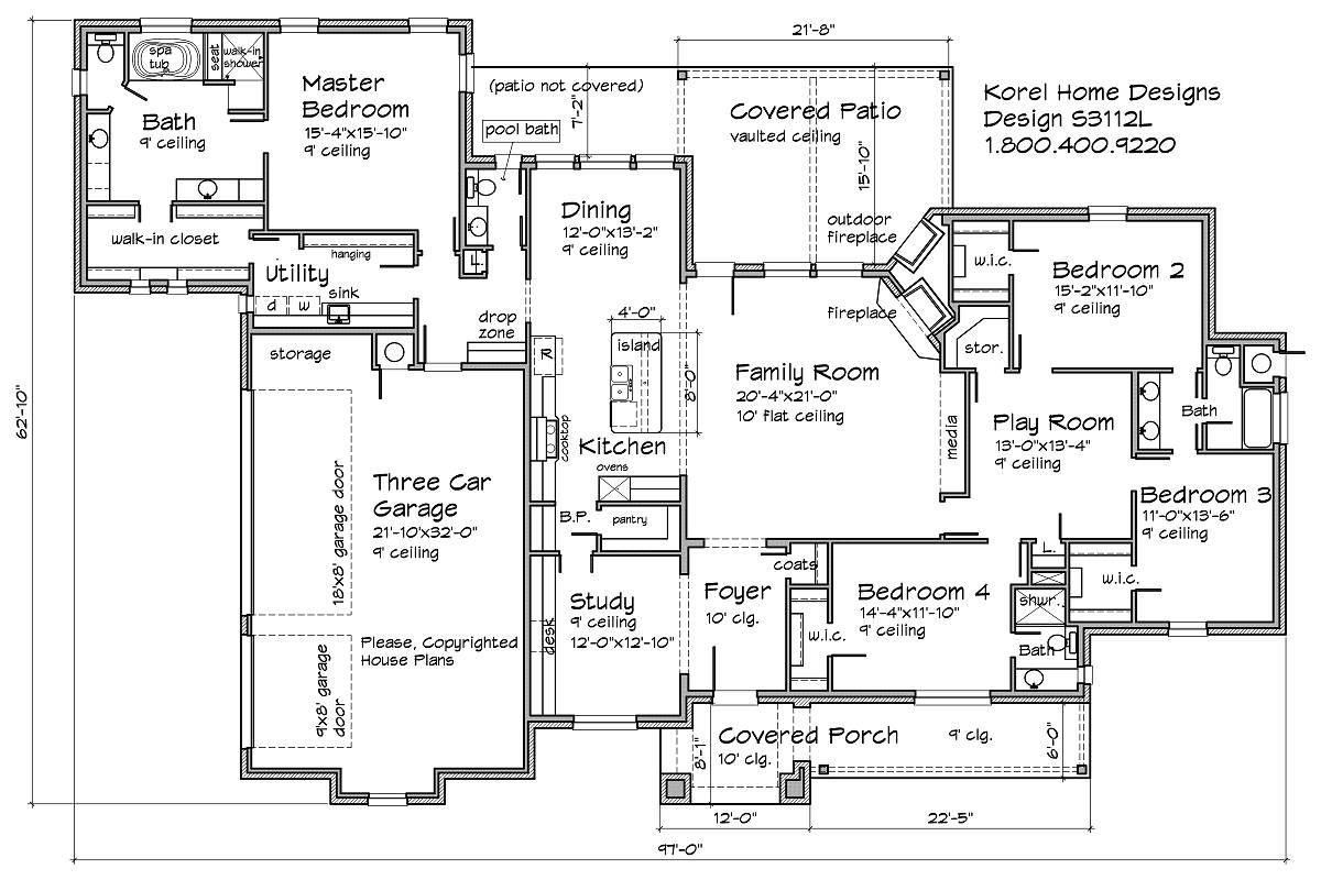 3100 sf 4 bedroom playroom study house plan add bathroom for Play plan